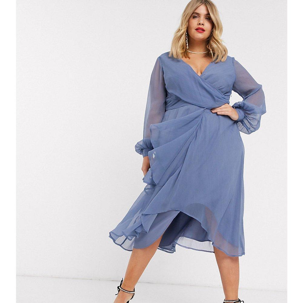 ASOS DESIGN Curve - Robe mi-longue croisée à la taille avec jupe double épaisseur et manches longues - ASOS Curve - Modalova