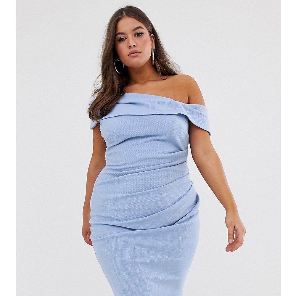 ASOS DESIGN Curve - Robe mi-longue texturée à épaules dénudées - ASOS Curve - Modalova