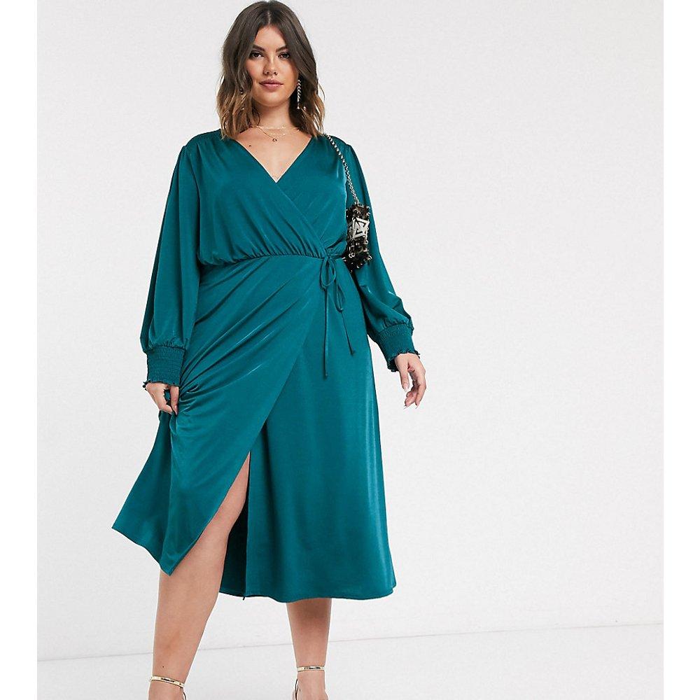 ASOS DESIGN Curve - Robe portefeuille mi-longue en jersey satiné - sarcelle - ASOS Curve - Modalova