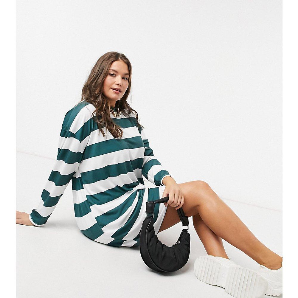 ASOS DESIGN Curve- Robe t-shirt courte à manches longues et motif rayures - forêt et blanc - ASOS Curve - Modalova