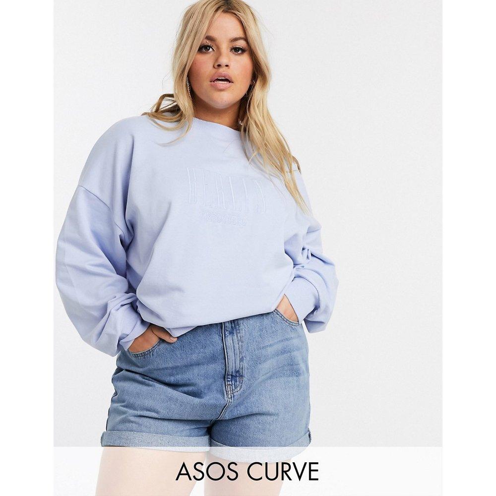 ASOS DESIGN Curve - Sweat-shirt oversize délavé avec broderie Berlin ton sur ton - ASOS Curve - Modalova
