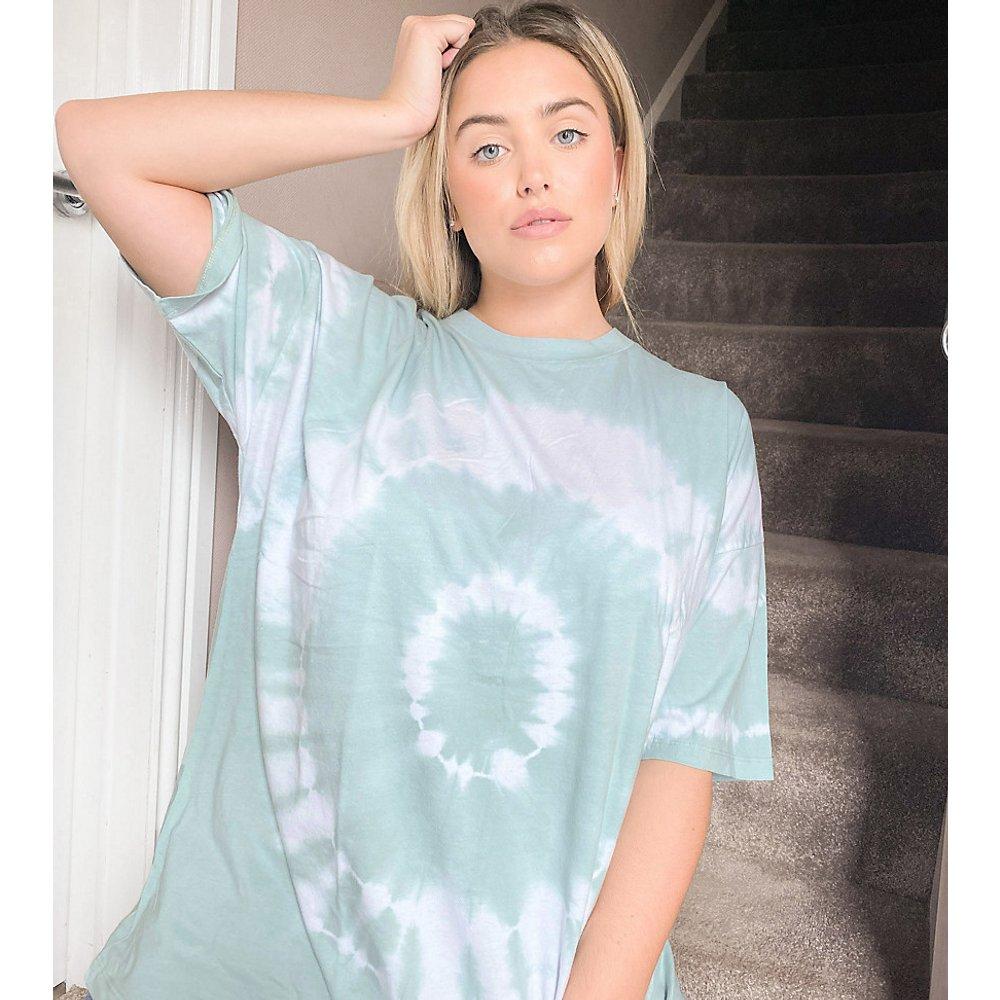 ASOS DESIGN Curve - T-shirt avec spirale effet tie and dye - Bleu de sarcelle - ASOS Curve - Modalova