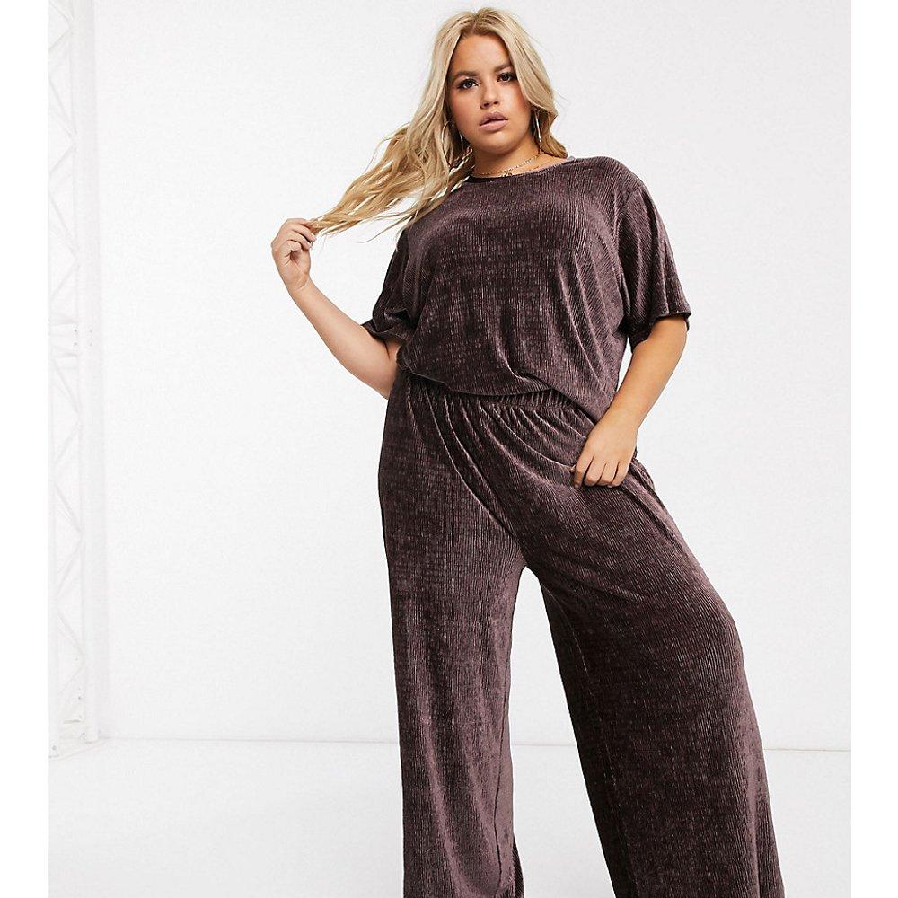 ASOS DESIGN Curve - T-shirt et pantalon conforts en velours plissé - ASOS Curve - Modalova