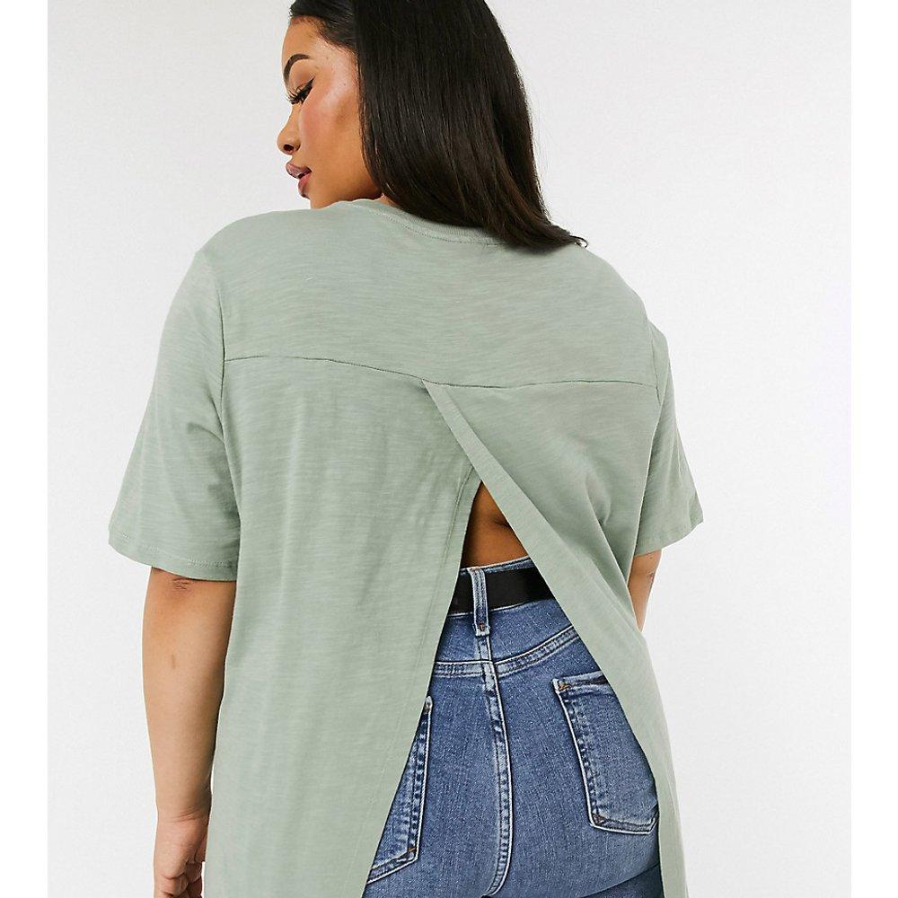 ASOS DESIGN Curve - T-shirt texturé avec dos drapé - Sauge - ASOS Curve - Modalova