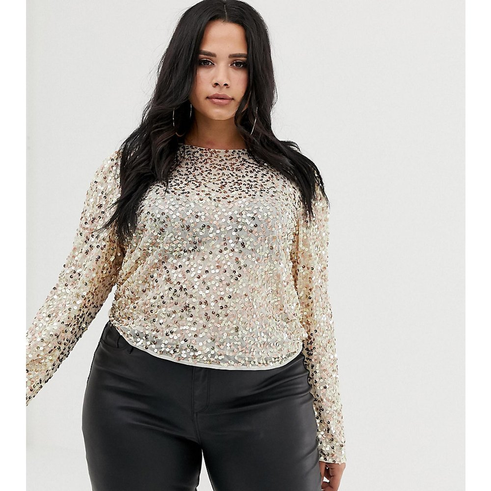 ASOS DESIGN Curve - Top à manches longues et ornements sequins - ASOS Curve - Modalova