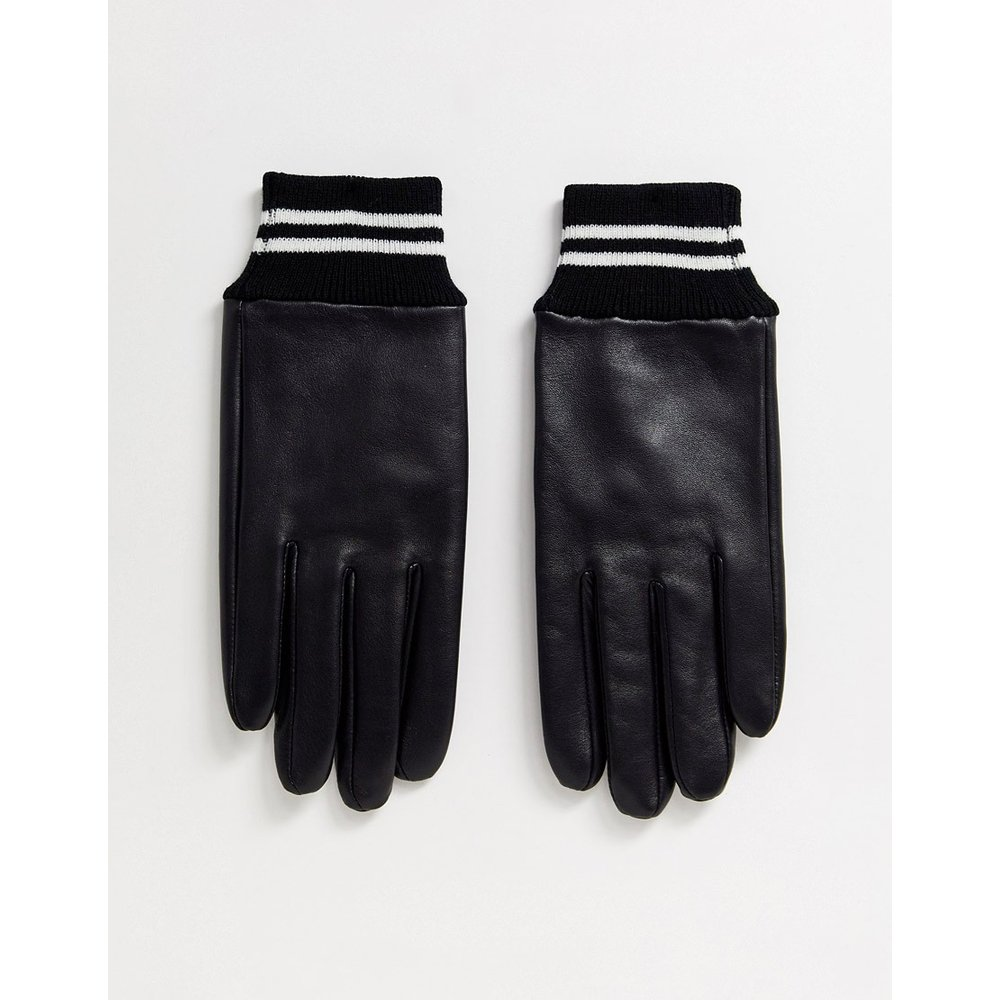 Gants en cuir avec poignets côtelés à rayures - ASOS DESIGN - Modalova