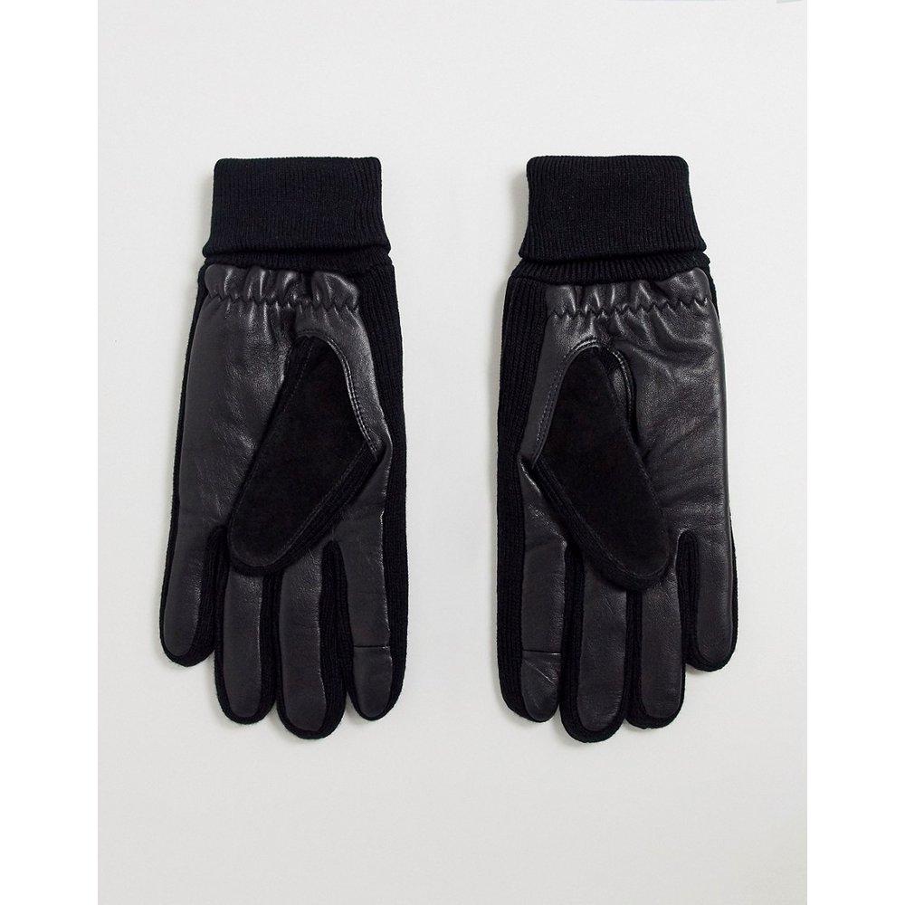 Gants en cuir pour écran tactile avec empiècement en daim et poignets côtelés - ASOS DESIGN - Modalova