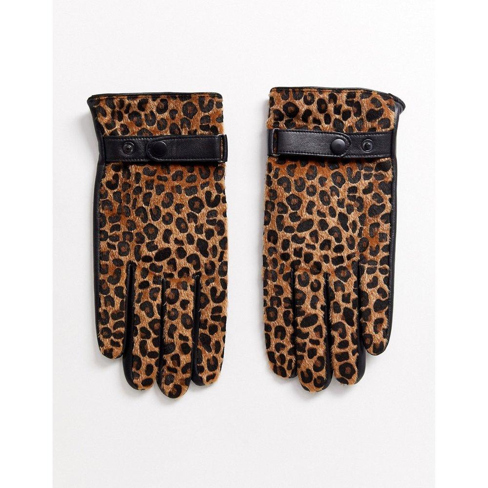 Gants en cuir pour écran tactile avec empiècements léopard imitation poney - ASOS DESIGN - Modalova