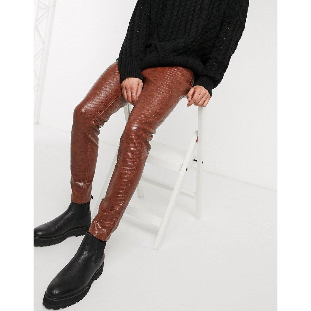Jean skinny longueur cheville en imitation cuir effet crocodile - ASOS DESIGN - Modalova