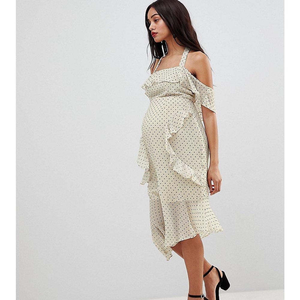 ASOS DESIGN - Jupe fourreau mi-longue de maternité en tissu doux à pois - ASOS Maternity - Modalova