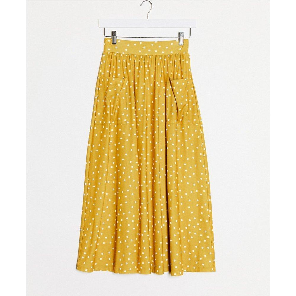 Jupe mi-longue avec poches - Imprimé à pois moutarde - ASOS DESIGN - Modalova
