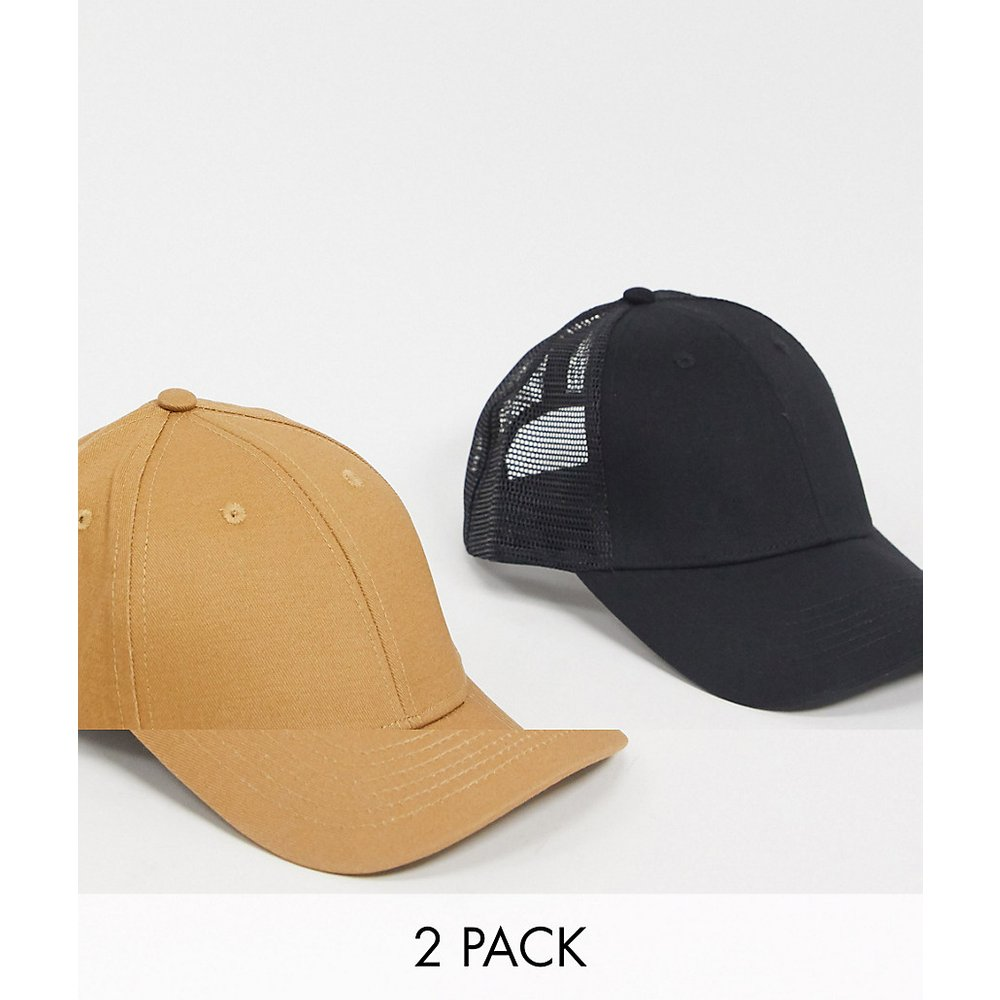 Lot de 2 casquettes : une casquette de baseball fauve et une casquette style camionneur - ÉCONOMIE - ASOS DESIGN - Modalova