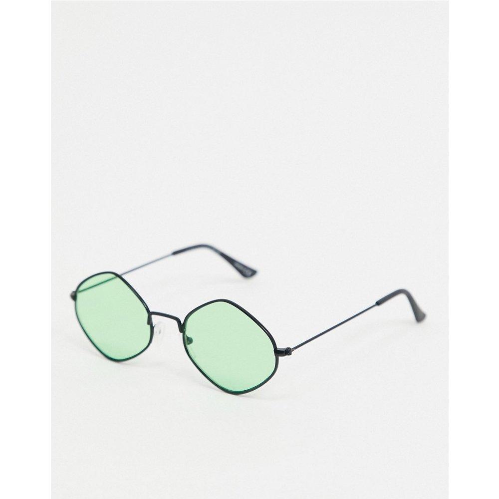 Lunettes de soleil angulaires à verres verts - Métal - ASOS DESIGN - Modalova