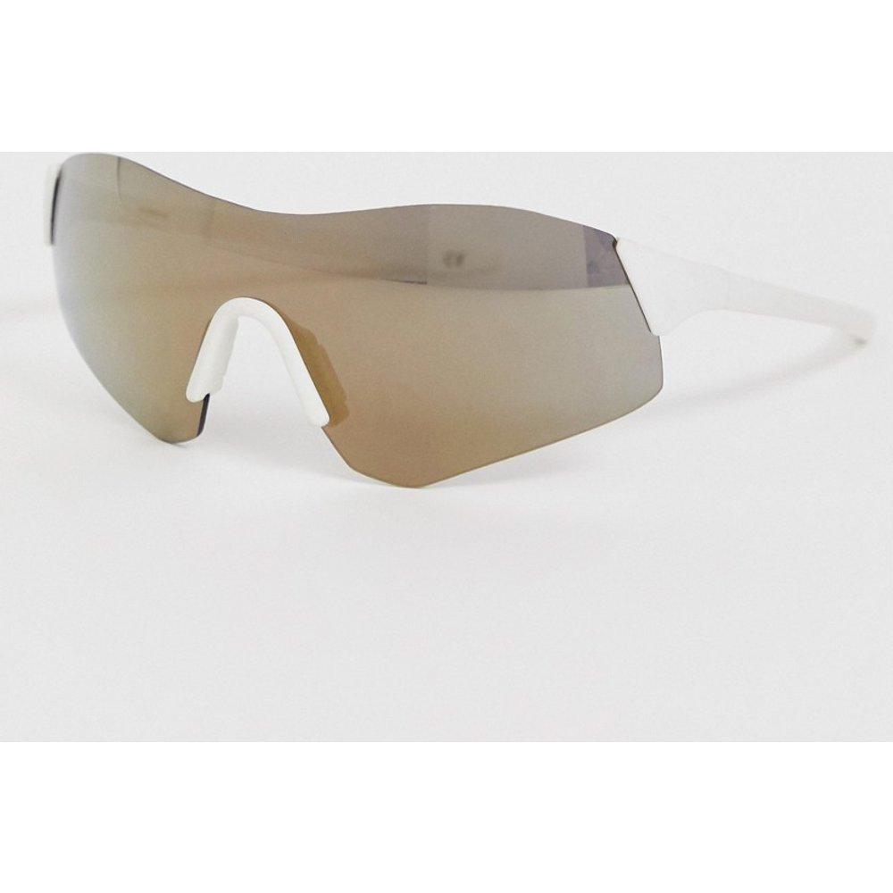 Lunettes de soleil masque enveloppantes sans monture avec verres dorés flashy - ASOS DESIGN - Modalova