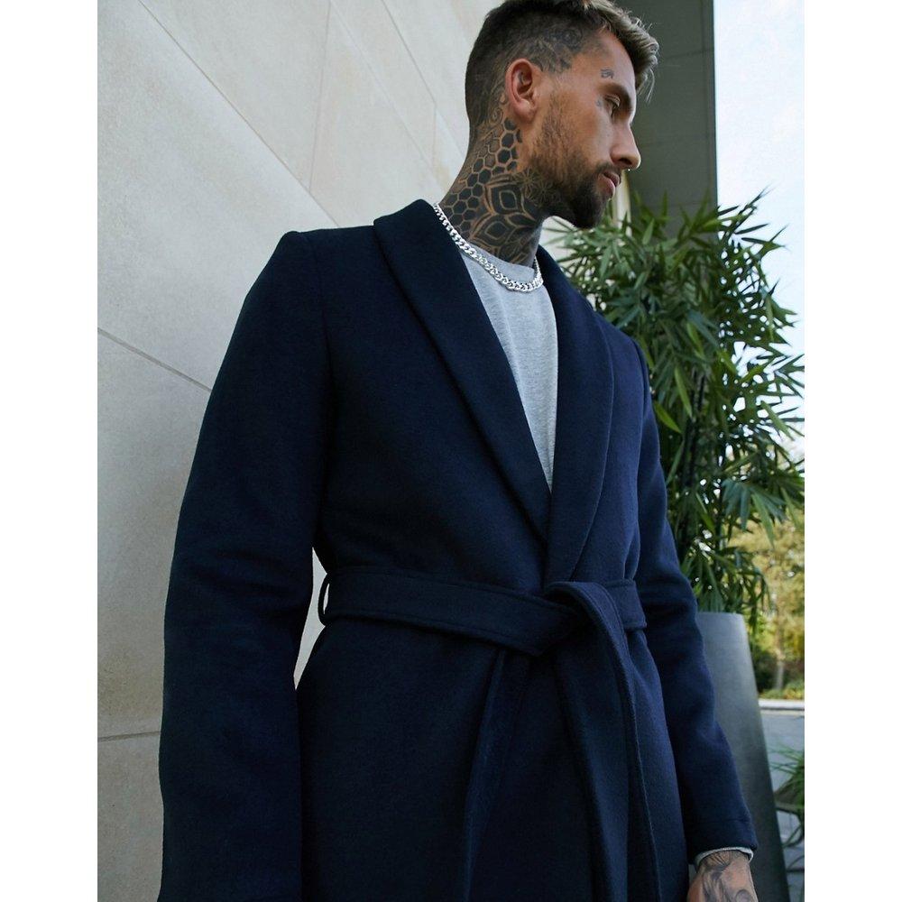 Manteau en laine mélangée à ceinture - Bleu marine - ASOS DESIGN - Modalova