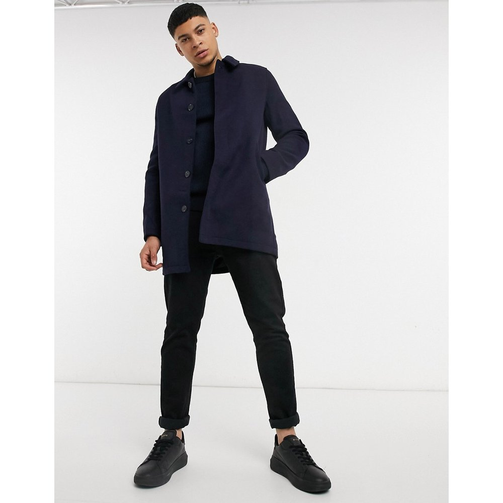 Manteau en laine mélangée - Bleu marine - ASOS DESIGN - Modalova