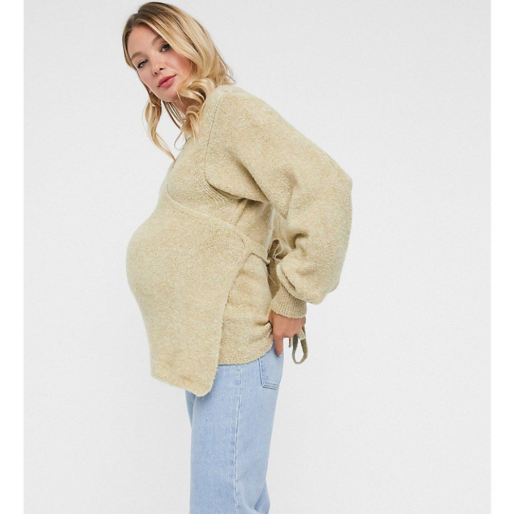 ASOS DESIGN Maternity - Pull cache-cœur duveteux - Avoine - ASOS Maternity - Modalova