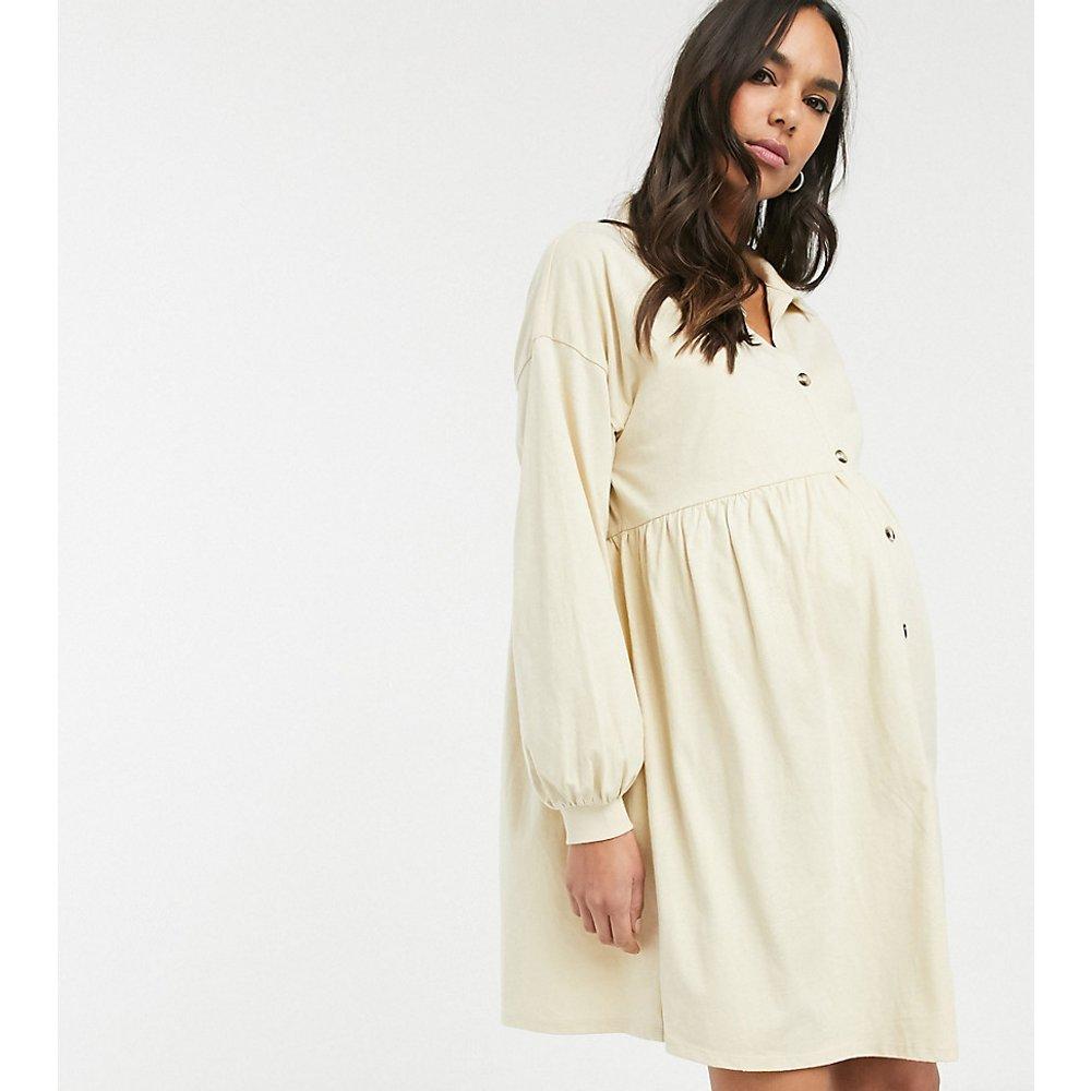 ASOS DESIGN Maternity - Robe chemise babydoll oversize en coton flammé avec boutons en corne - ASOS Maternity - Modalova