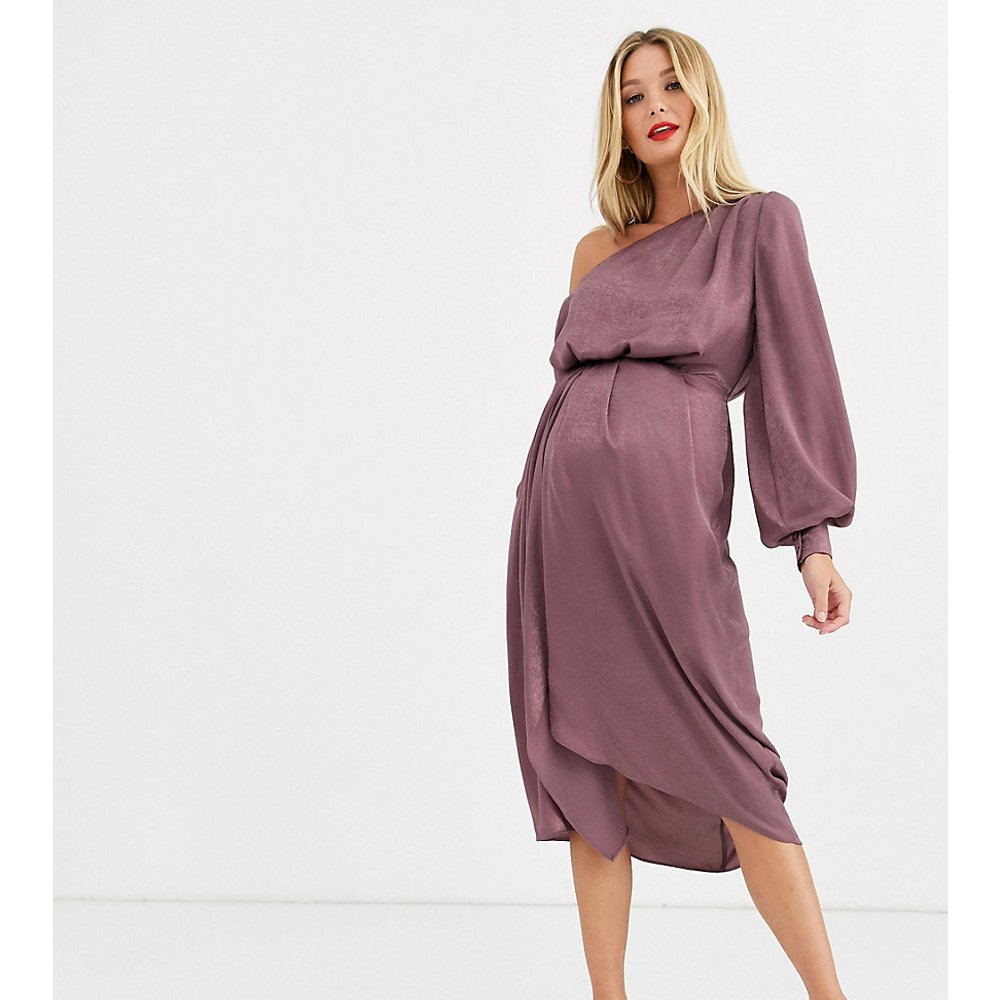ASOS DESIGN Maternity - Robe mi-longue asymétrique style blouson en satin délavé - ASOS Maternity - Modalova