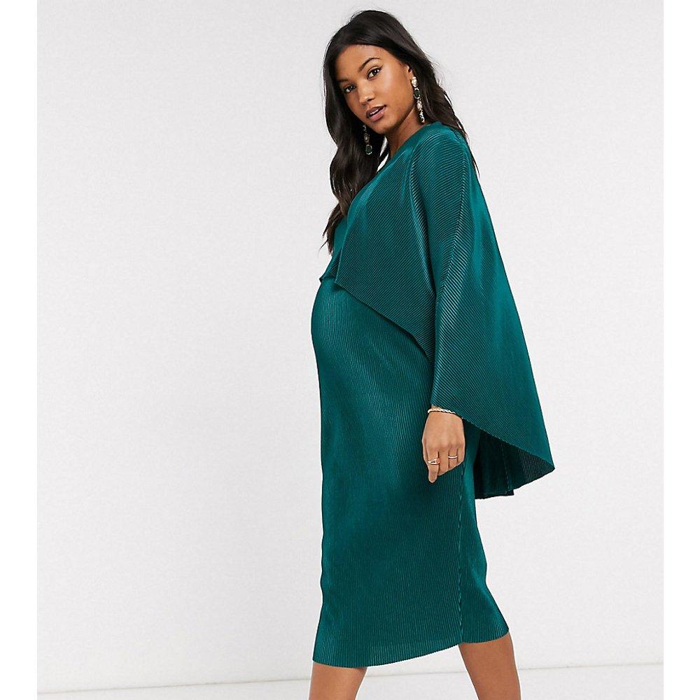 ASOS DESIGN Maternity - Robe mi-longue d'allaitement plissée effet cape - ASOS Maternity - Modalova