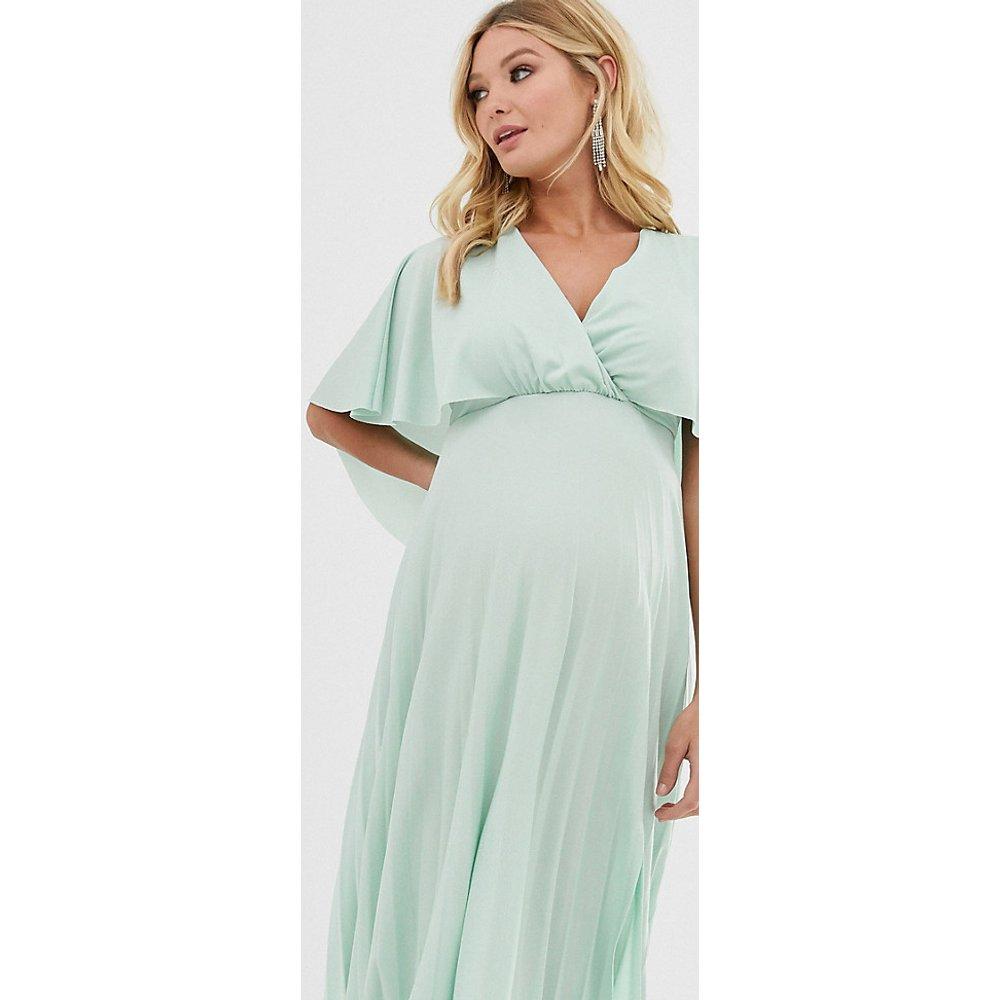 ASOS DESIGN Maternity - Robe mi-longue plissée avec détail effet cape au dos - ASOS Maternity - Modalova