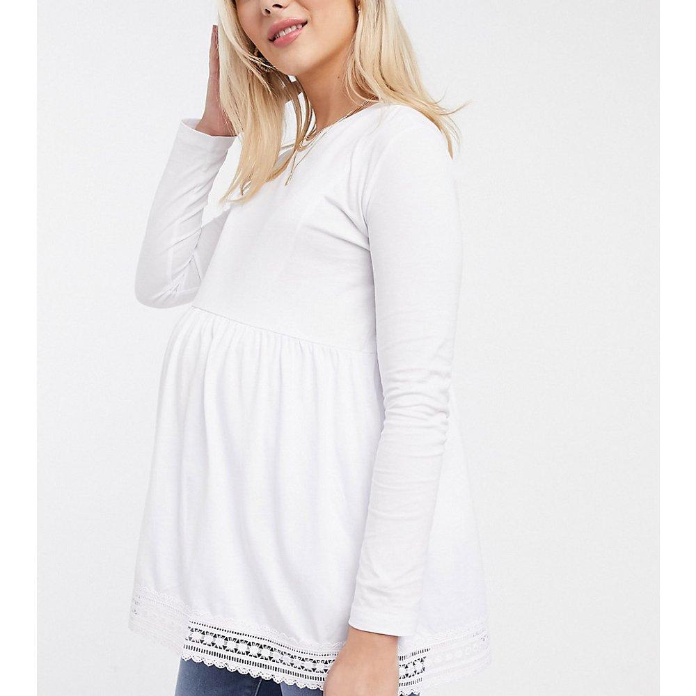 ASOS DESIGN Maternity - Top babydoll d'allaitement à manches longues avec ourlet au crochet - ASOS Maternity - Nursing - Modalova