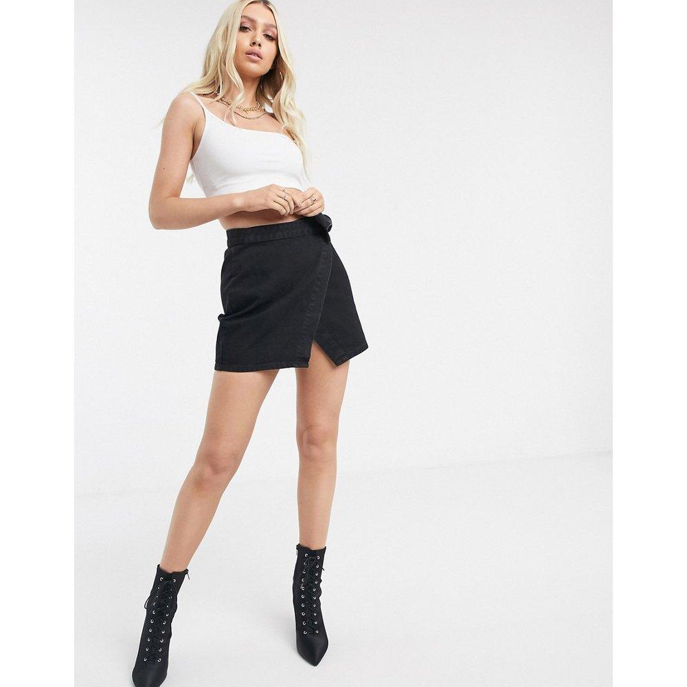 Mini-jupe portefeuille en jean - délavé - ASOS DESIGN - Modalova