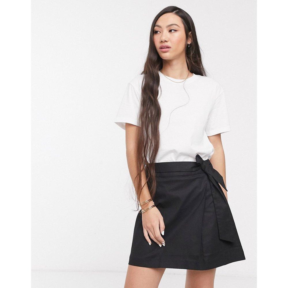 Mini-jupe portefeuille en lin - ASOS DESIGN - Modalova