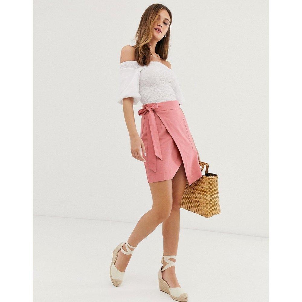 Mini-jupe portefeuille fonctionnelle en lin - ASOS DESIGN - Modalova