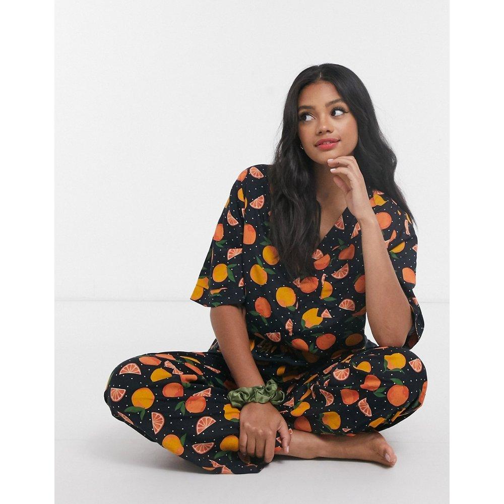 Mix & Match - Chemise de pyjama 100 % modal à imprimé oranges - ASOS DESIGN - Modalova