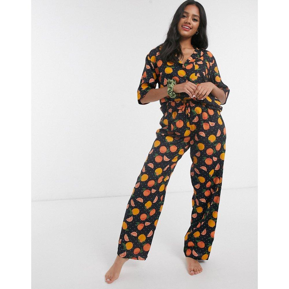 Mix & Match - Pantalon de pyjama 100% modal à imprimé orange - ASOS DESIGN - Modalova