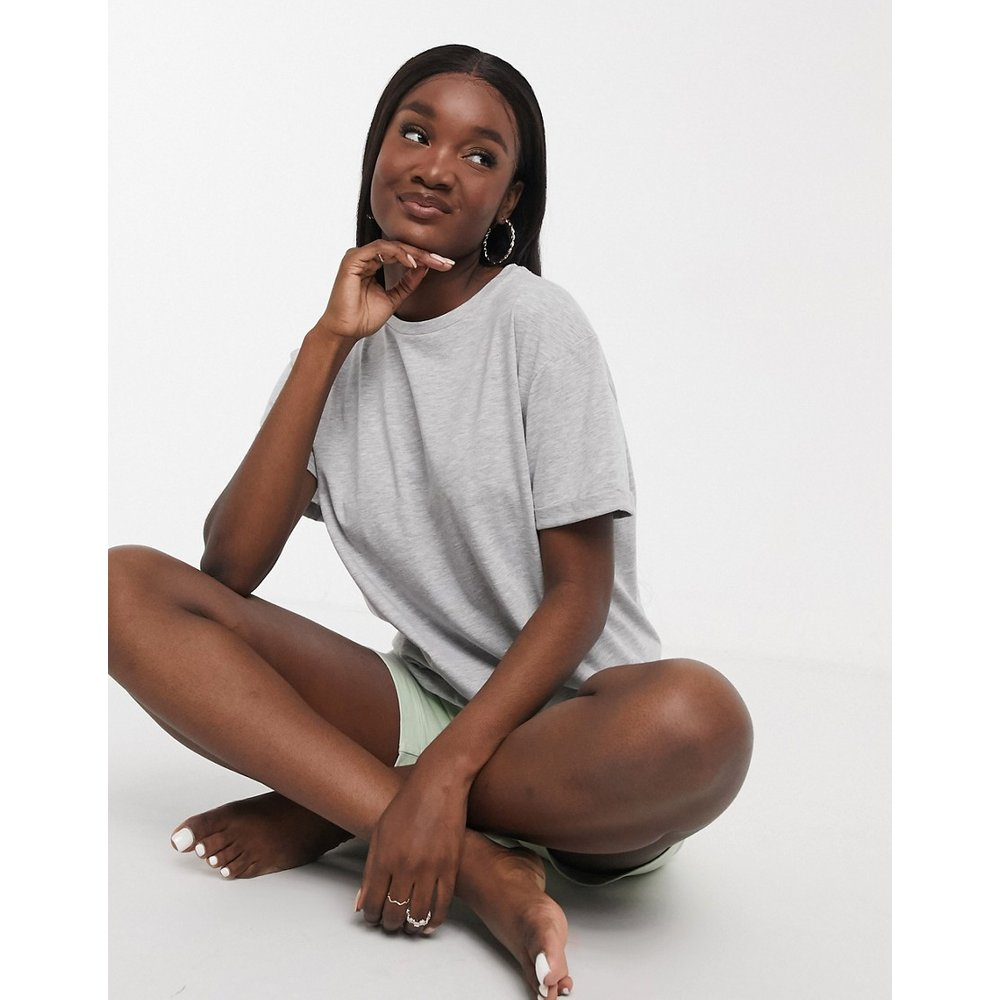 Mix & Match - T-shirt de pyjama en jersey - chiné - ASOS DESIGN - Modalova