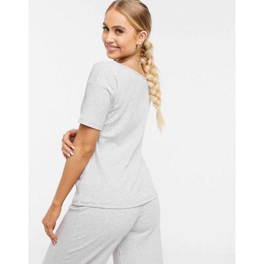 Mix & Match - T-shirt de pyjama épaules dénudées en tissu côtelé - ASOS DESIGN - Modalova
