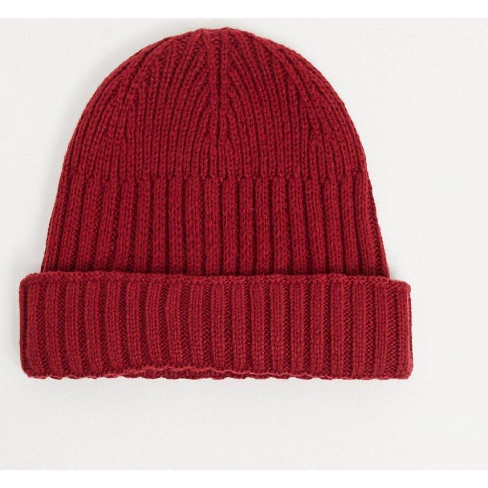 Nouveau petit bonnet côtelé style pêcheur en polyester recyclé - Bordeaux - ASOS DESIGN - Modalova
