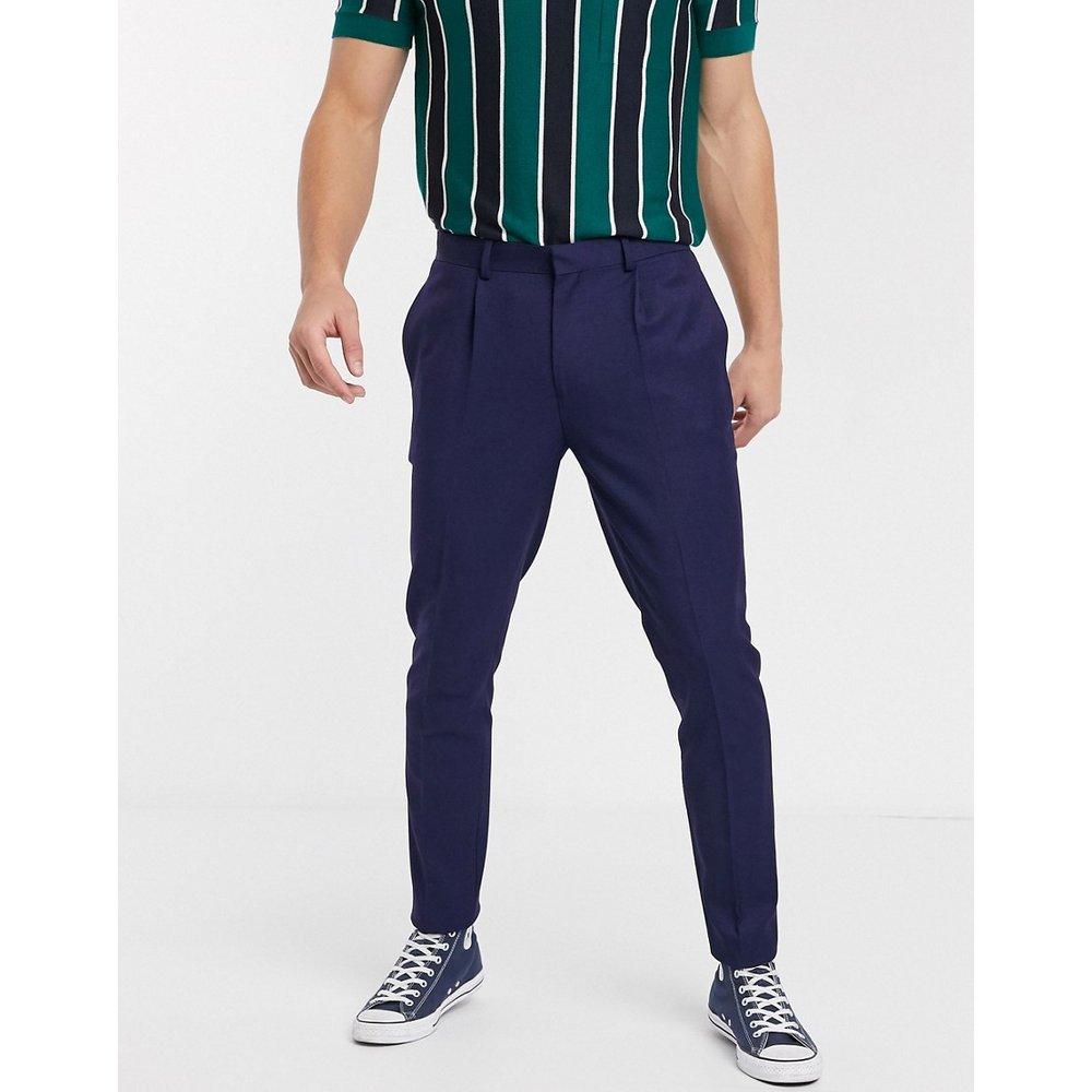 Pantalon à pinces habillé ajusté - Bleu marine - ASOS DESIGN - Modalova