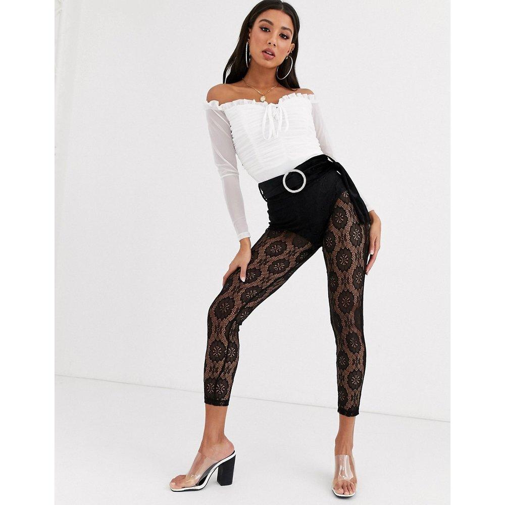 Pantalon ajusté en dentelle avec ceinture en velours et boucle ornée de strass - ASOS DESIGN - Modalova