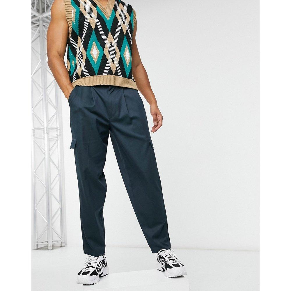 Pantalon cargo fuselé oversize habillé - Bleu marine - ASOS DESIGN - Modalova