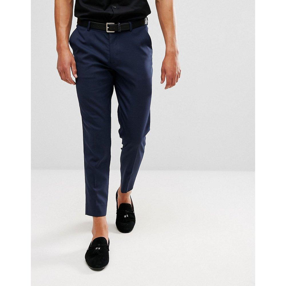 Pantalon court ajusté habillé - Bleu marine - ASOS DESIGN - Modalova