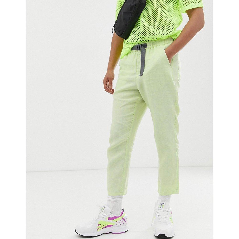 Pantalon court fuselé en lin délavé avec ceinture - fluo - ASOS DESIGN - Modalova