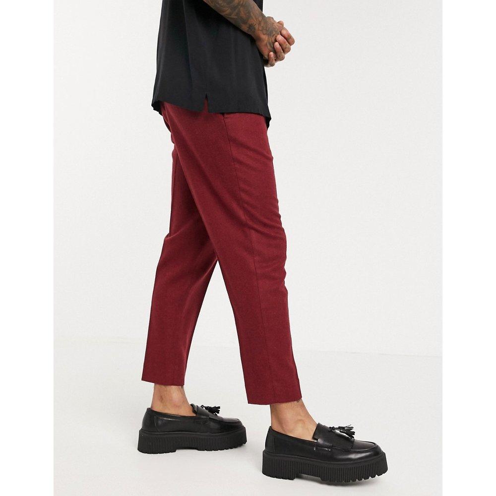 Pantalon court habillé fuselé en laine mélangée texturée - Bordeaux - ASOS DESIGN - Modalova