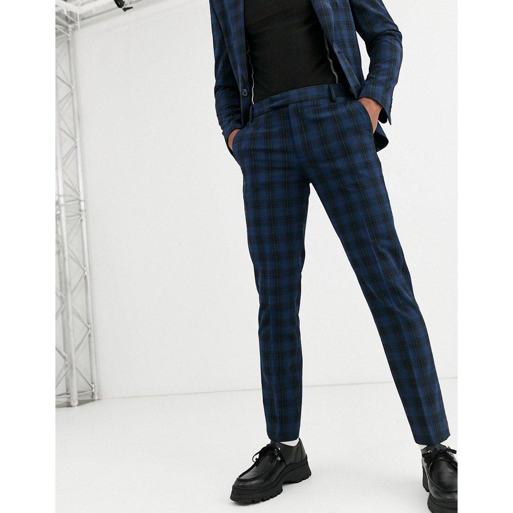Pantalon de costume ajusté en seersucker - Bleu marine - ASOS DESIGN - Modalova