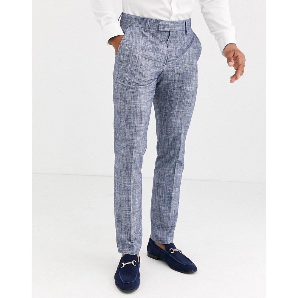 Pantalon de costume de mariage ajusté - Bleu foncé hachuré - ASOS DESIGN - Modalova