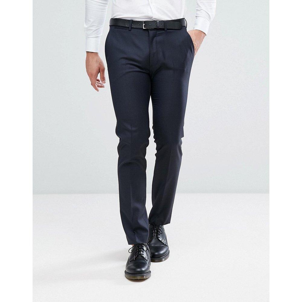 Pantalon de costume slim 100% laine - Bleu marine - ASOS DESIGN - Modalova