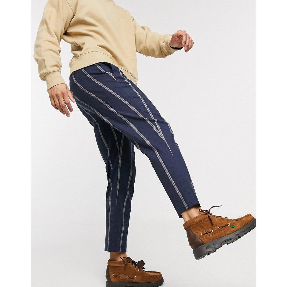 Pantalon fuselé habillé en lin - Bleu marine à rayures - ASOS DESIGN - Modalova