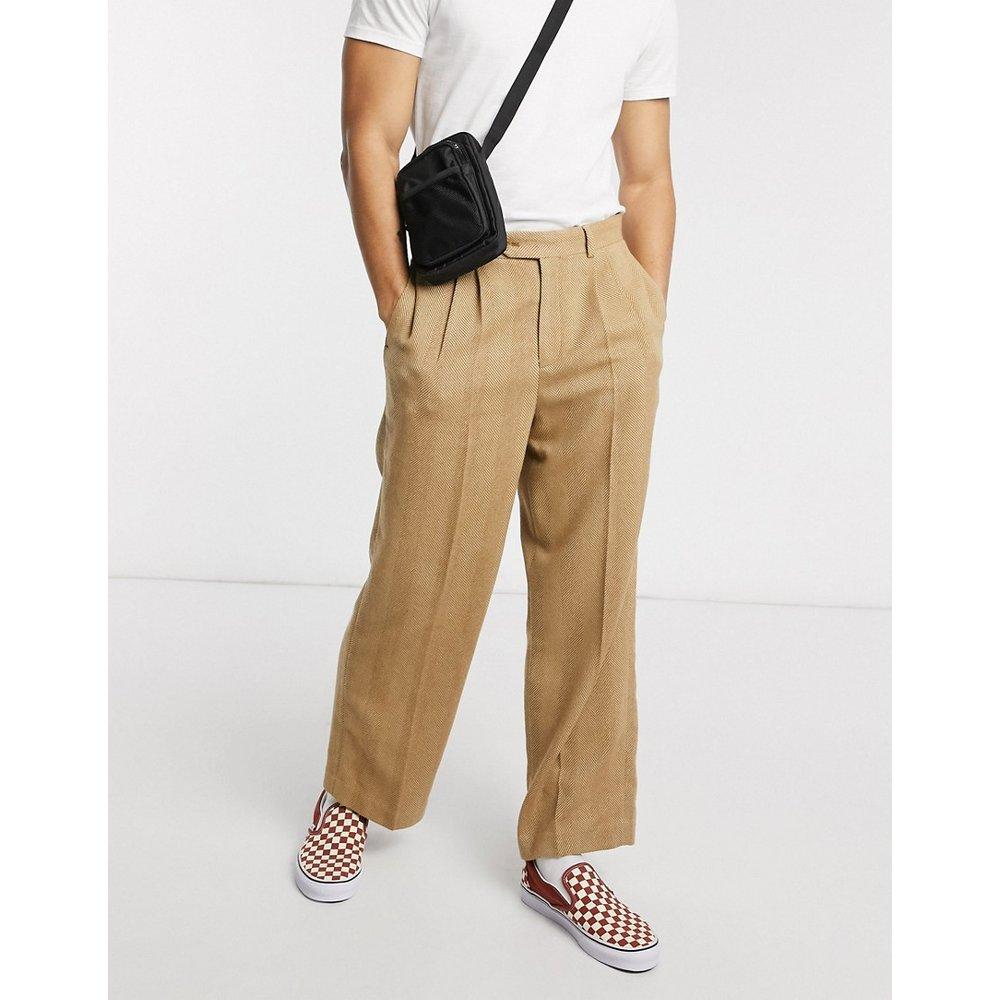 Pantalon habillé coupe large à taille haute avec motif chevrons - Fauve - ASOS DESIGN - Modalova