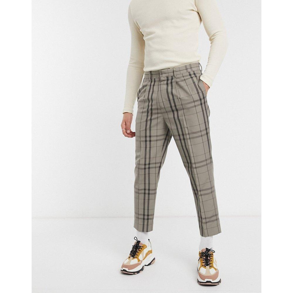 Pantalon habillé court fuselé - Taupe à carreaux - ASOS DESIGN - Modalova
