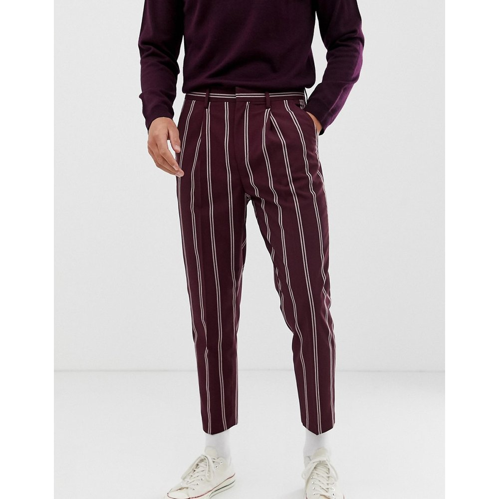 Pantalon habillé fuselé à fines rayures - Bordeaux - ASOS DESIGN - Modalova
