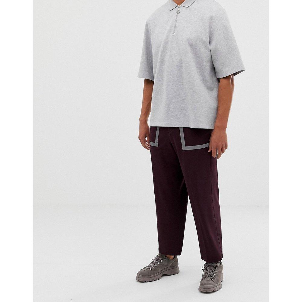 Pantalon habillé large avec détails réfléchissants - Marron - ASOS DESIGN - Modalova