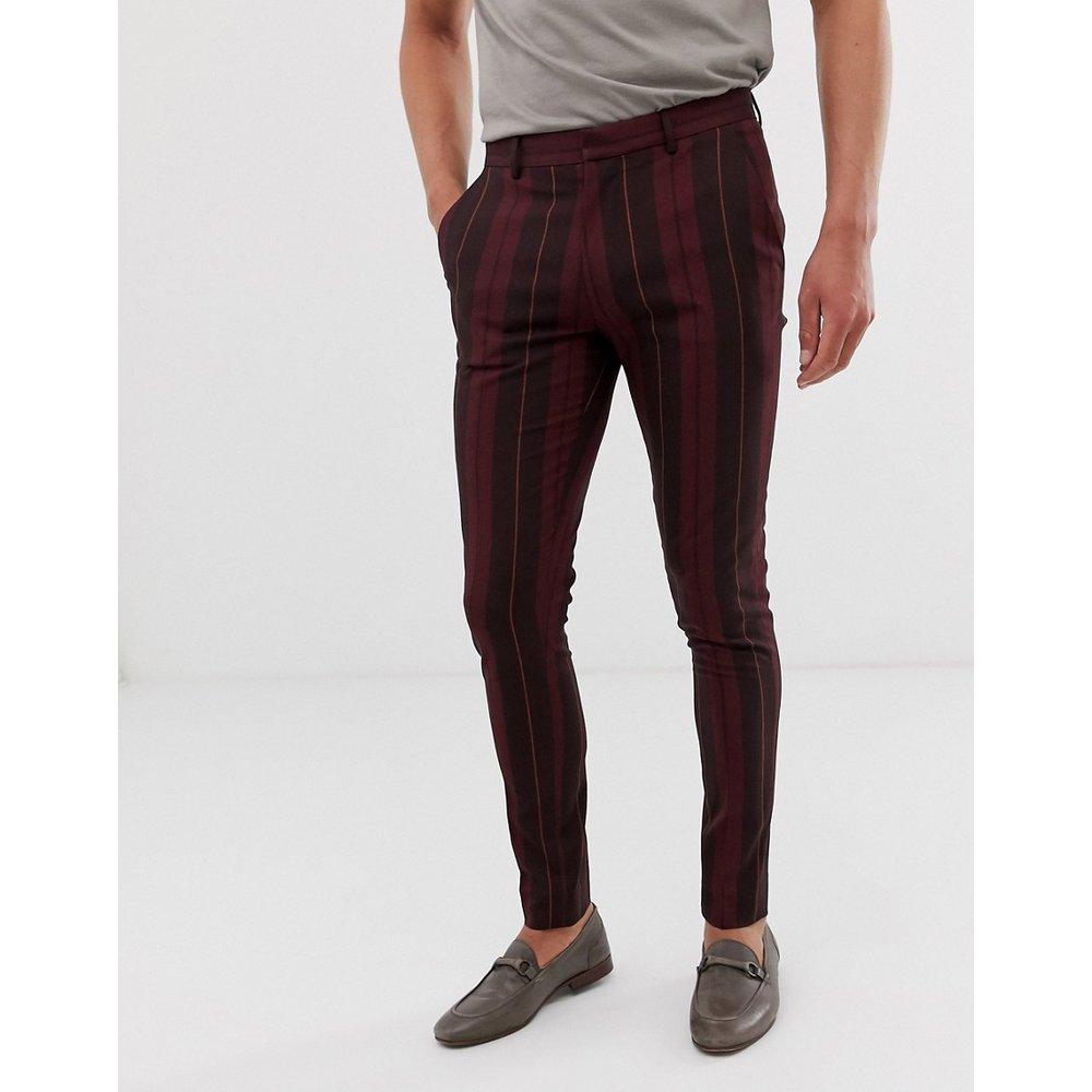 Pantalon habillé ultra ajusté à grosses bandes - Bordeaux - ASOS DESIGN - Modalova