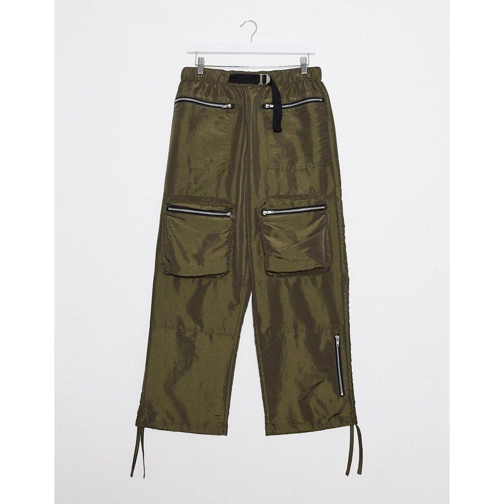 Pantalon large en nylon avec ceinture tissée - Kaki - ASOS DESIGN - Modalova